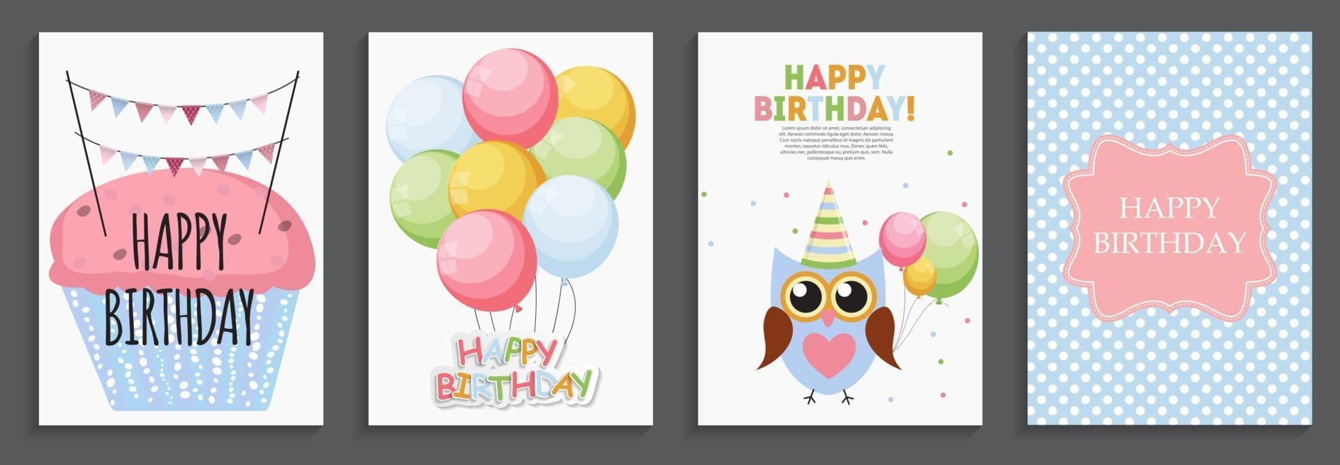 Happy Birthday, Holiday Greeting and Invitation Card Template Set with Balloons and Flags vector