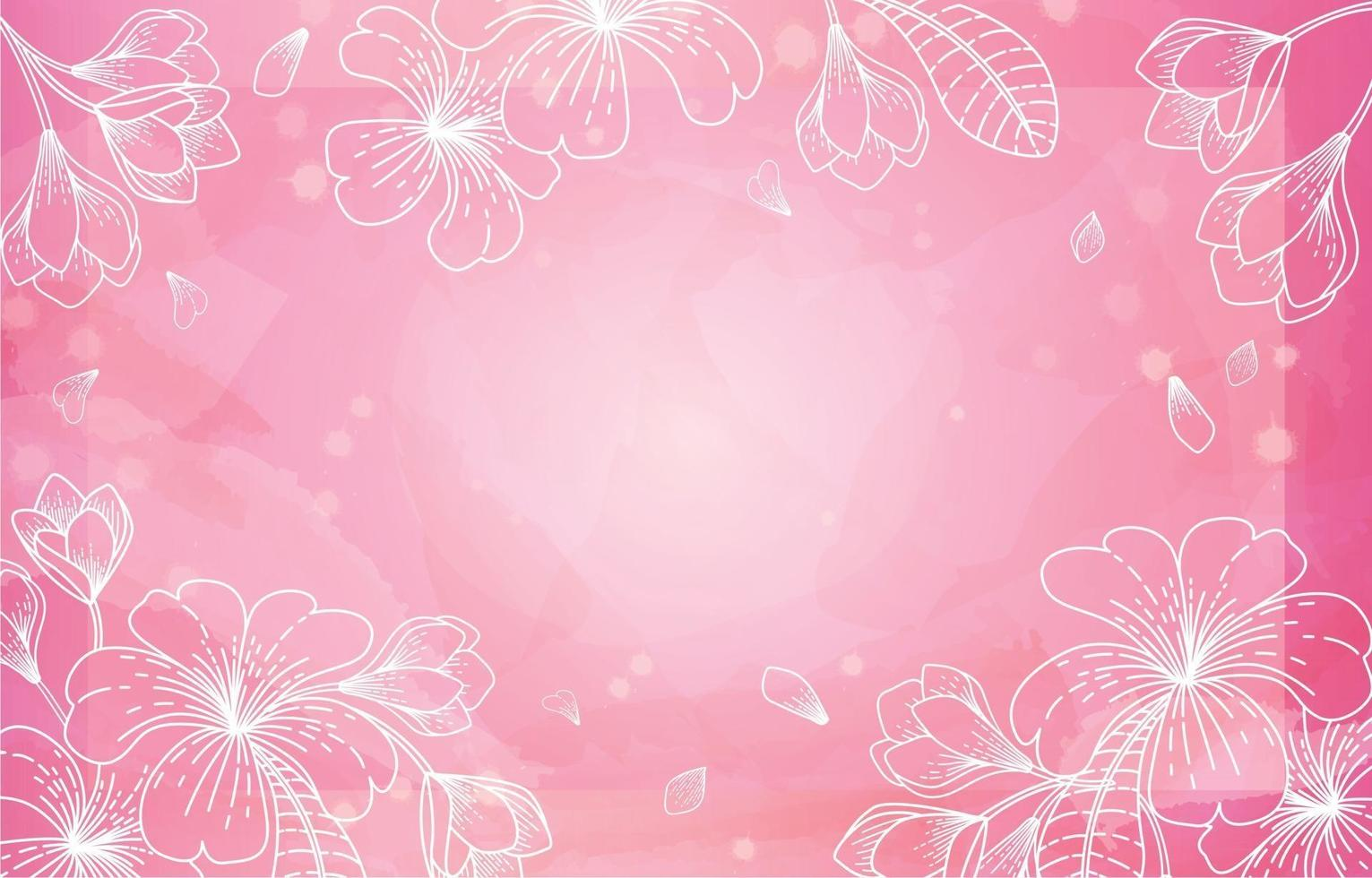 Pink Floral Watercolor Background vector