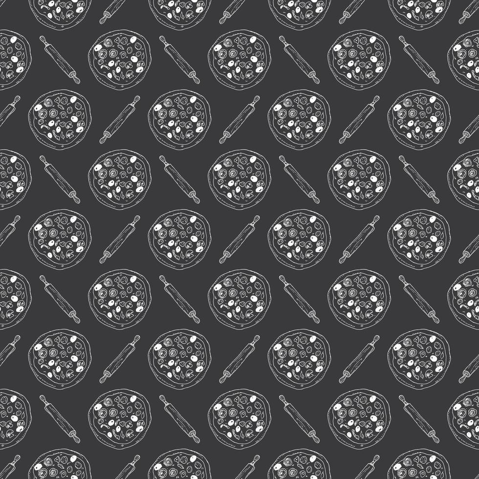 Pizza seamless pattern hand drawn sketch. Pizza doodles and rolling pin, Food background. Vector illustration