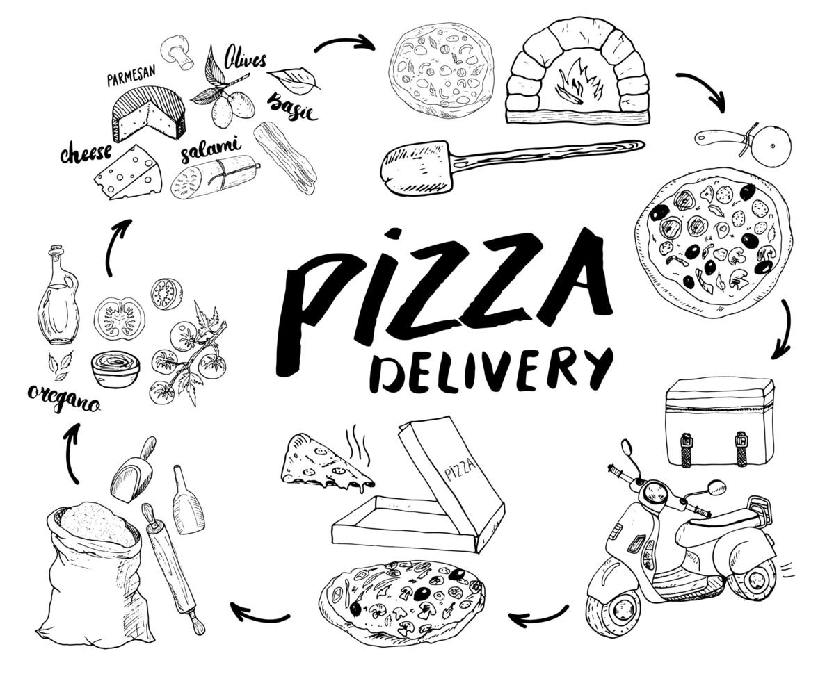 Pizza hand drawn sketch set. Pizza preparation and delivery process with flour and other food ingredients, paper box, oven and kitchen tools, scooter, pizza bag design template. Vector illustration