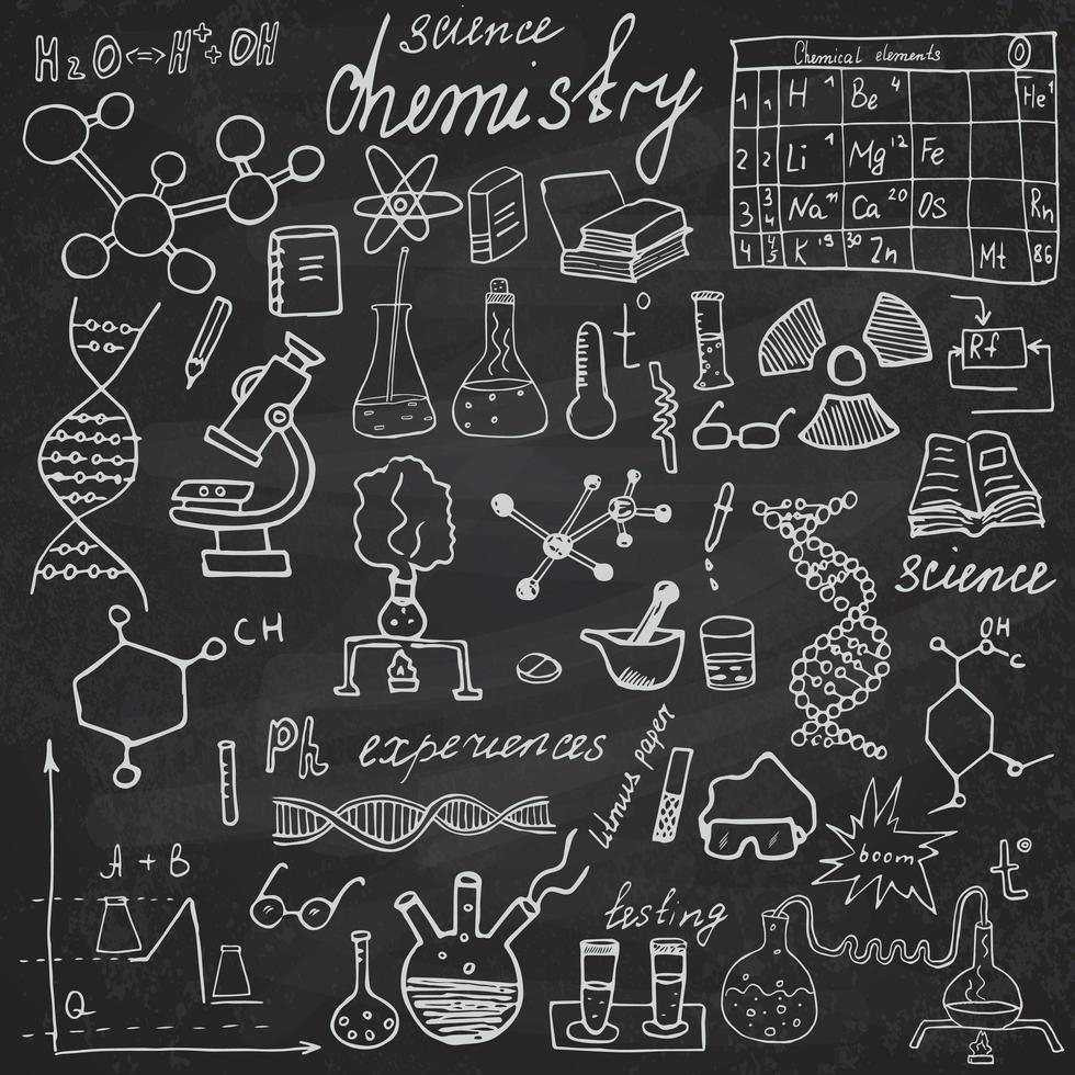 Chemistry and sciense elements doodles icons set. Hand drawn sketch with microscope, formulas, experiments equpment, analysis tools, vector illustration on chalkboard background