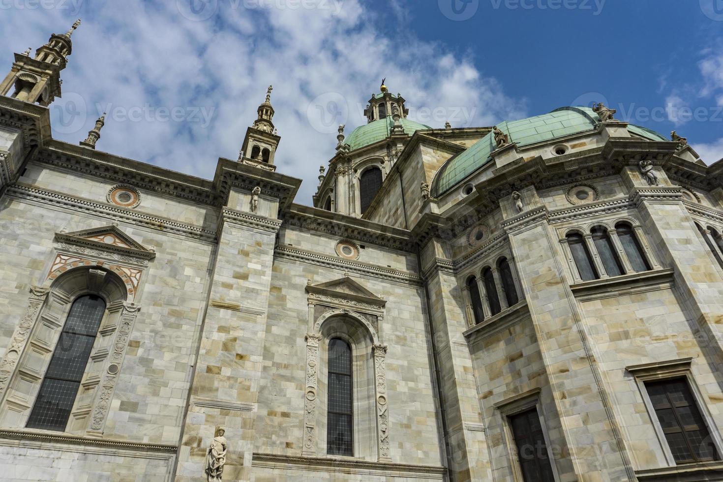Exterior view of Como Cathedral Duomo di Como in Italy photo