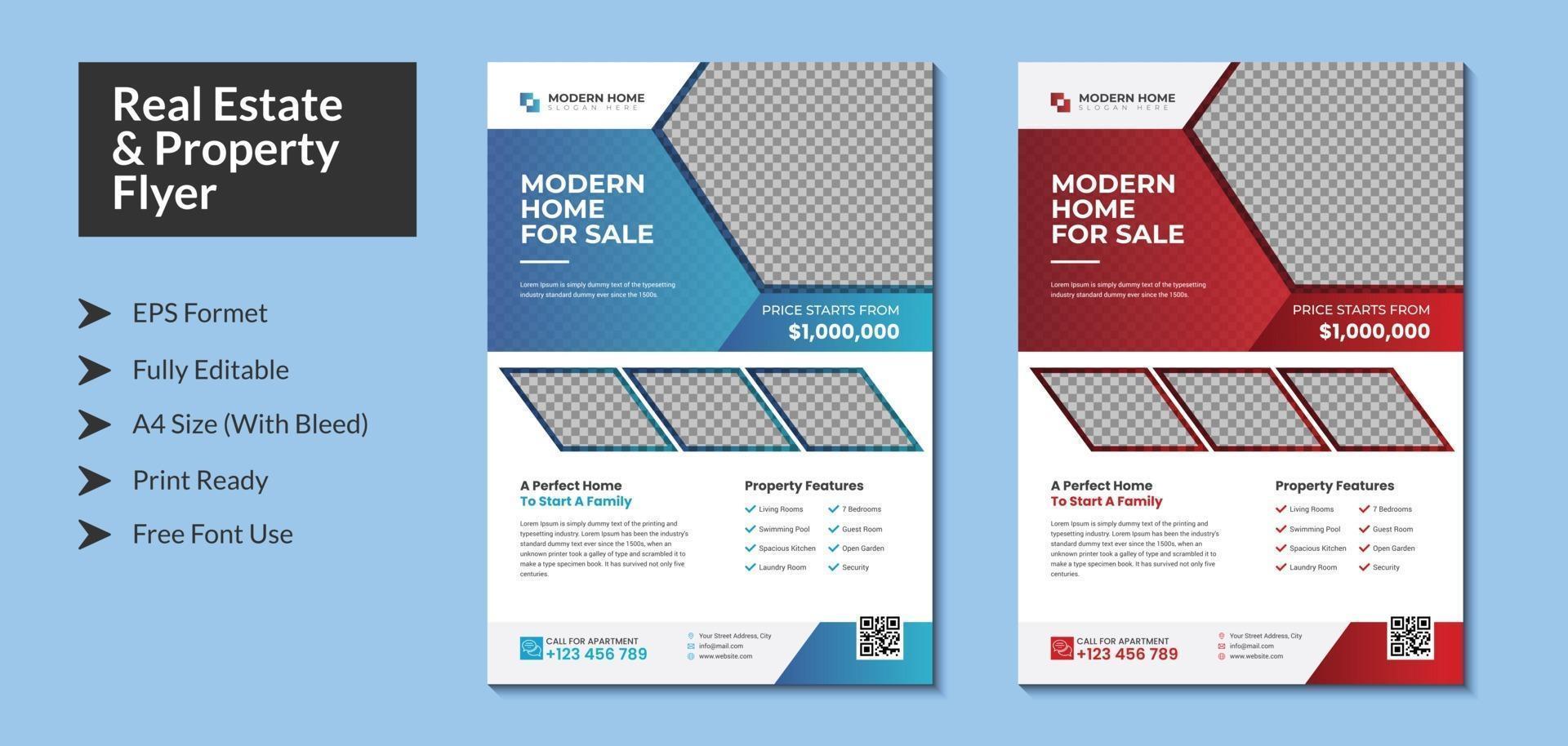 Real Estate Flyer Modern Design color variation Housing Apartment vector