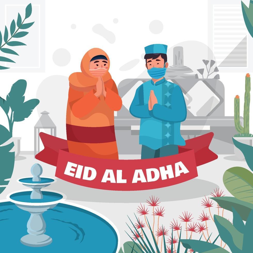 Couple Greeting on Eid Al Adha vector