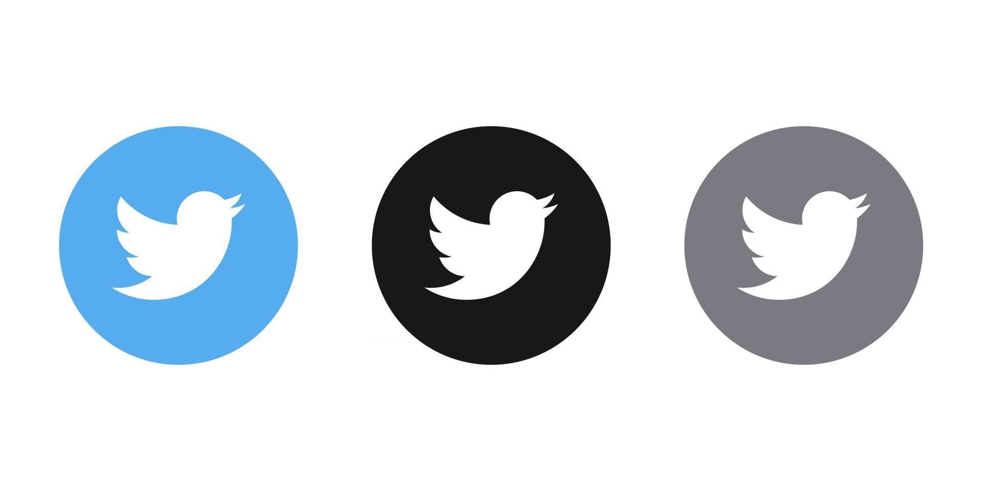 social media icon twitter black grey blue logos bundle vector