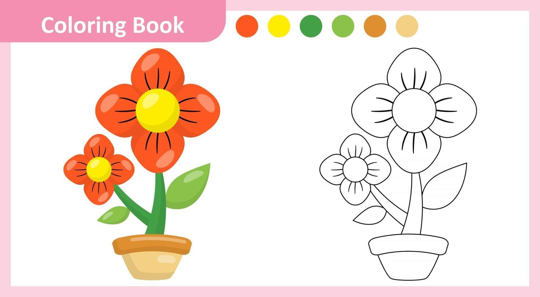 Coloring Book Flower vector