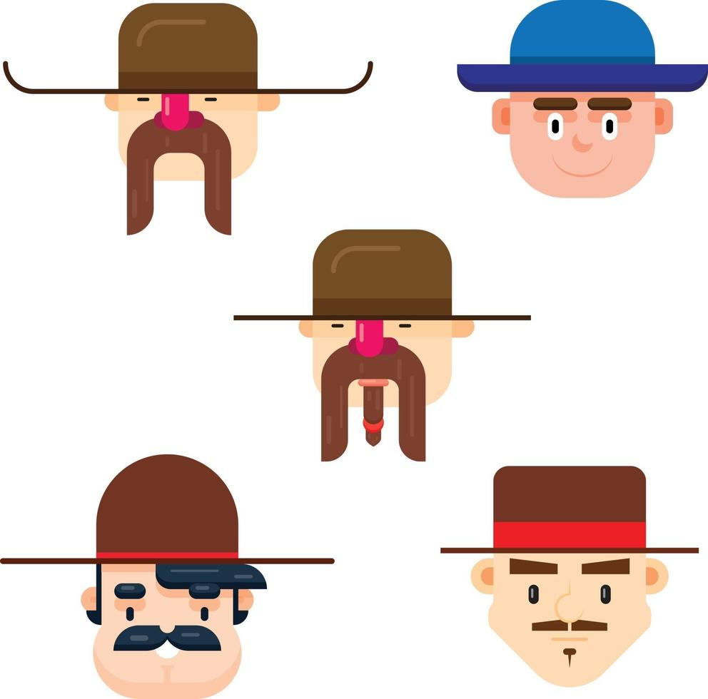 Set of five man faces wearing a long hat with different mustache styles vector