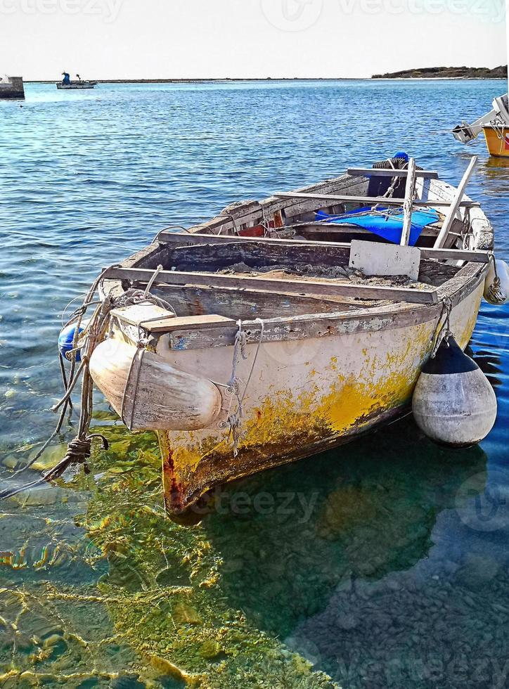 Old wooden fishing boat photo
