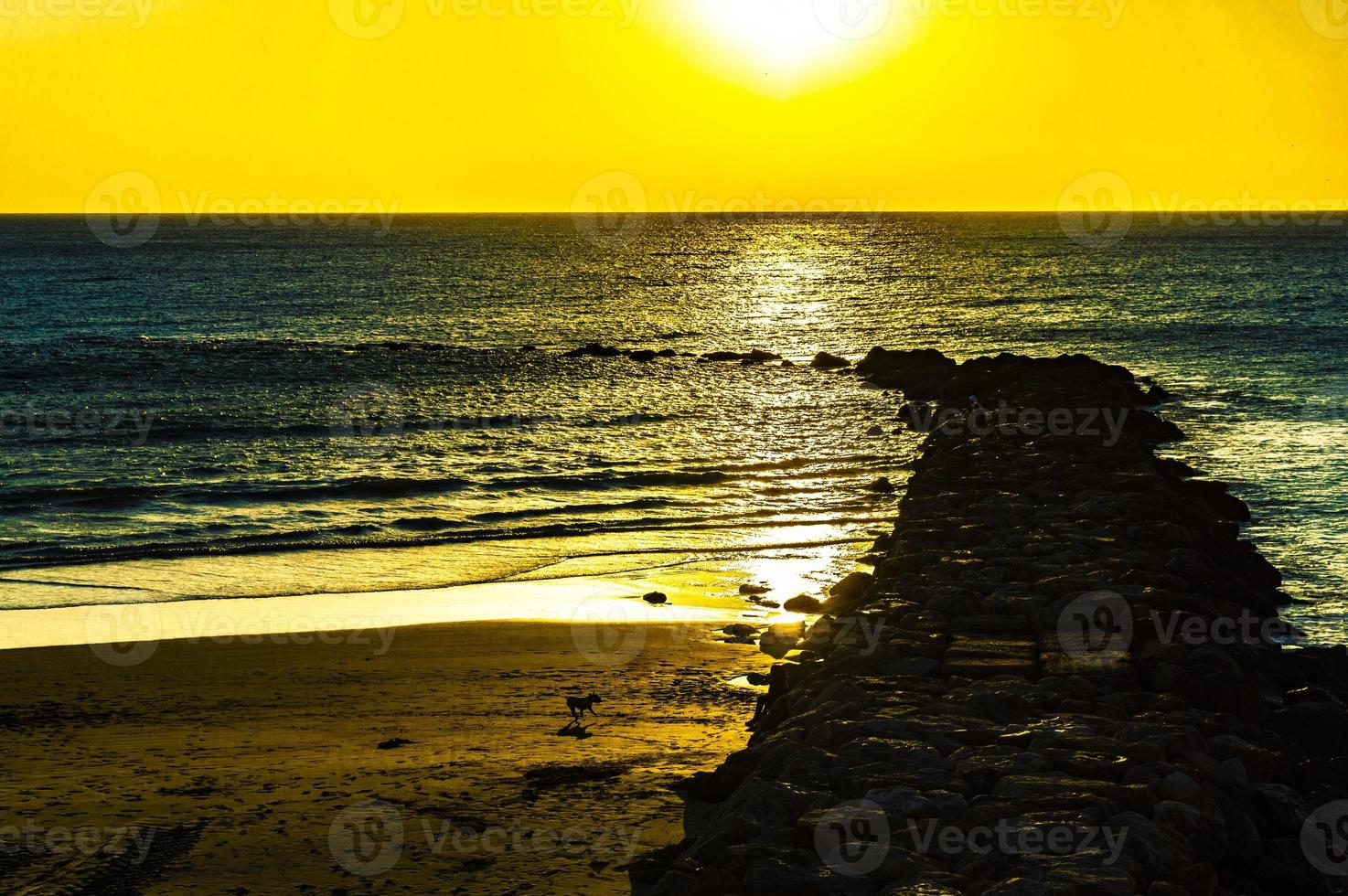 yellow sunset in a blue ocean photo