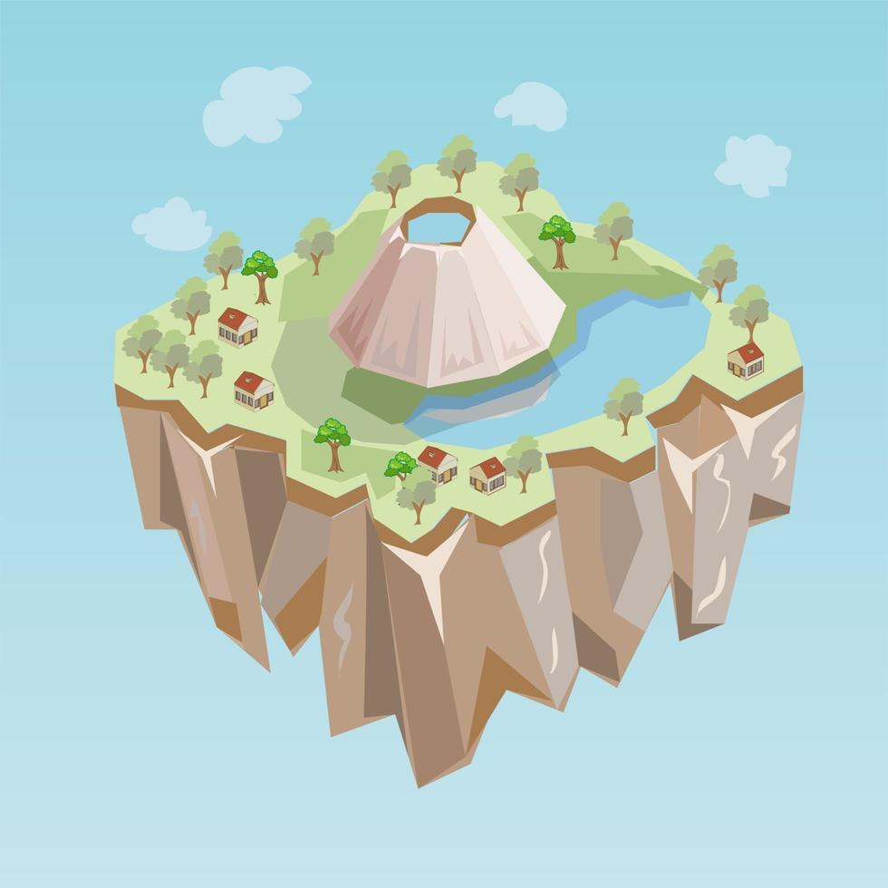Island Game Level Map Vector