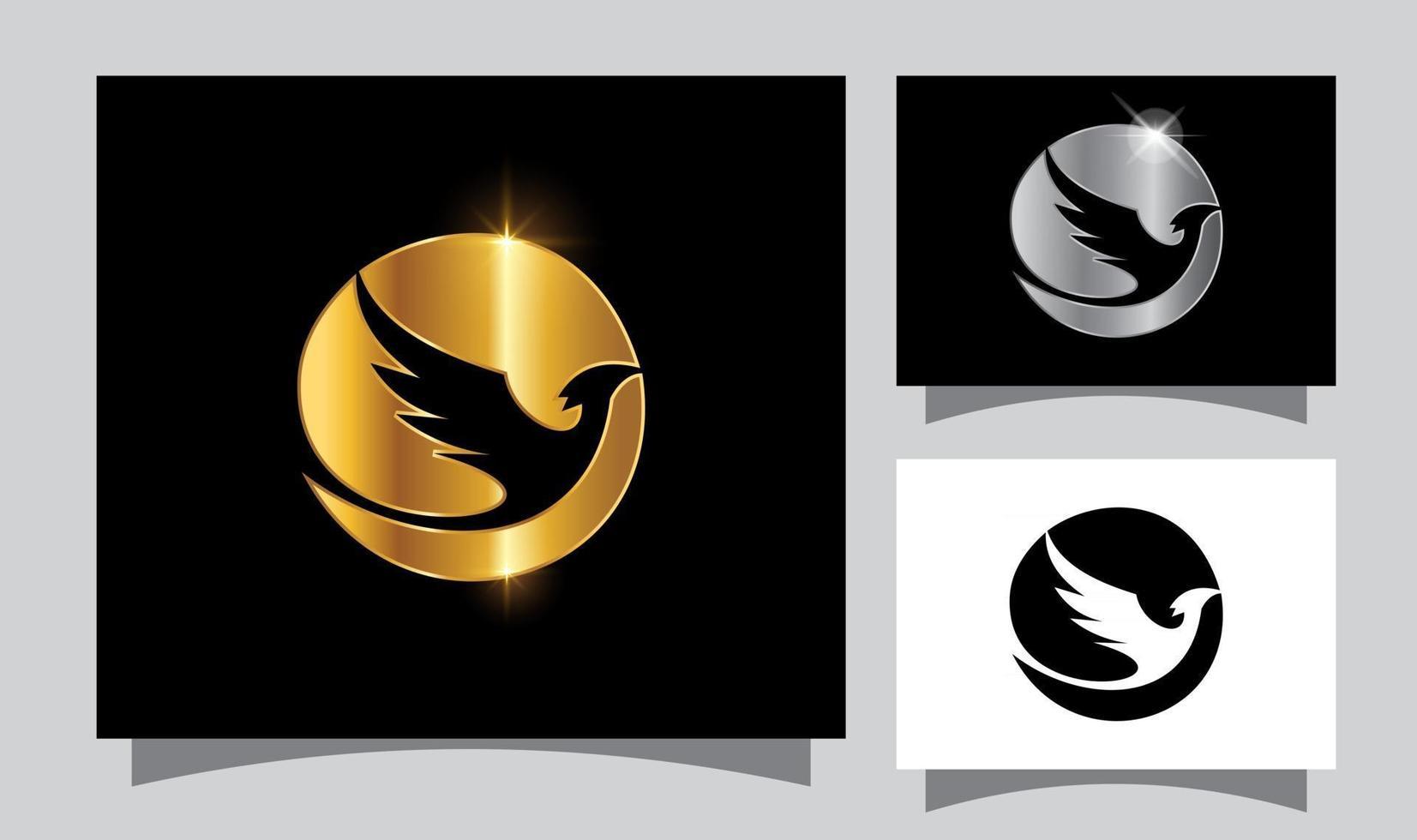 Golden Flying Bird Vector Sign