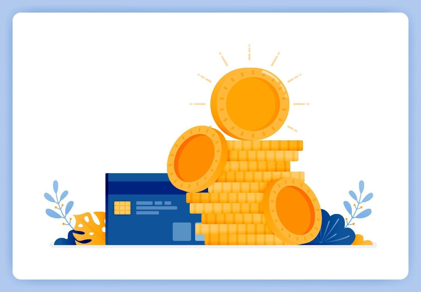 Pile of currency coins with credit card on side, jokes of debt. Can be used for landing pages, websites, posters, mobile apps vector