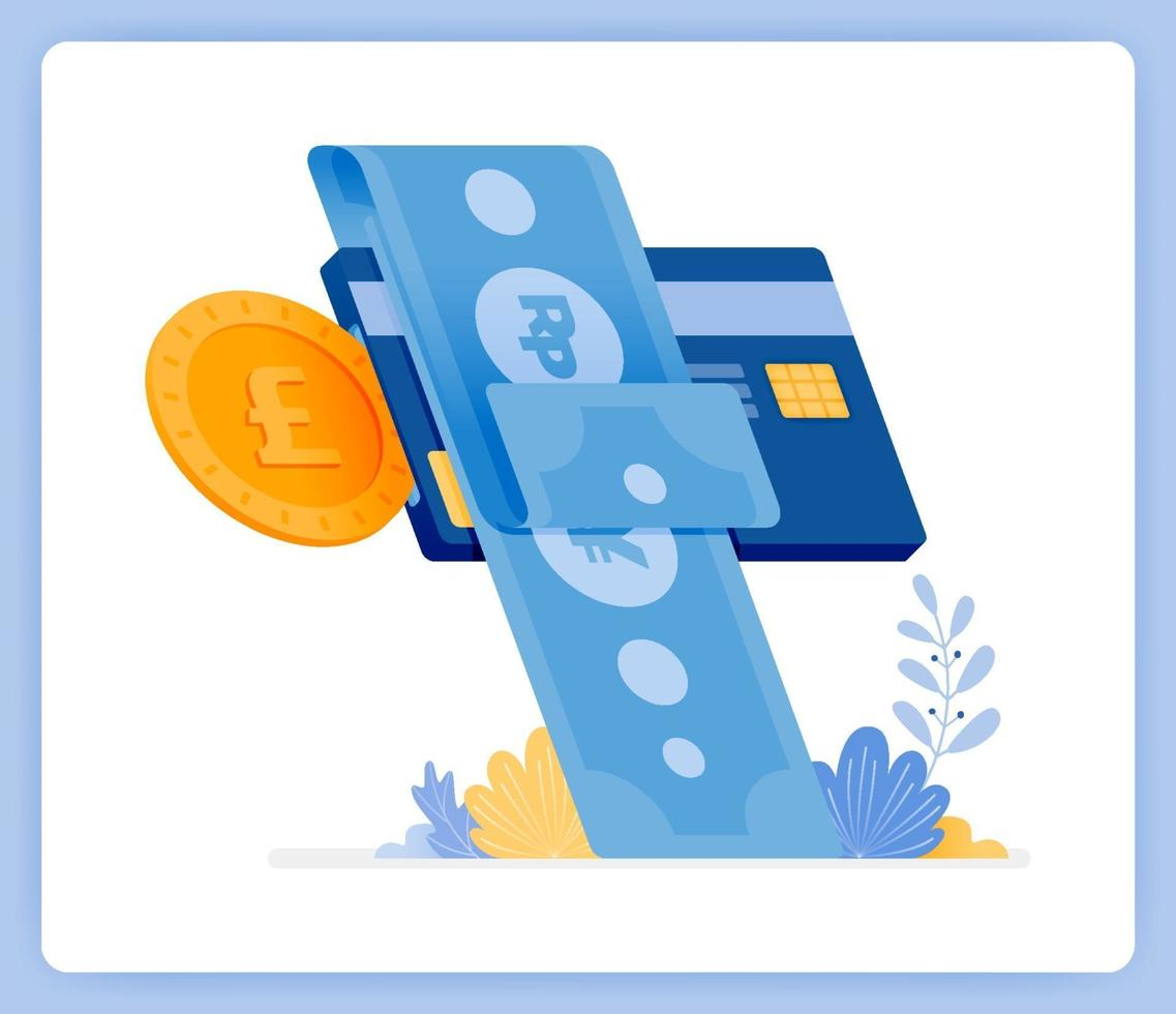 Instant monthly credit card bill payments financial loans. Can be used for landing pages, websites, posters, mobile apps vector