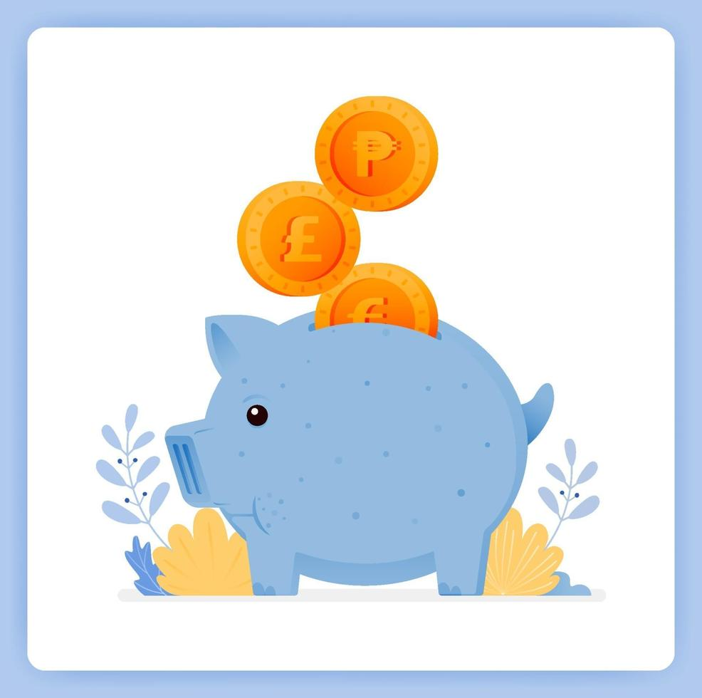 Cute blue piggy bank with stacked coins, save for investment. Can be used for landing pages, websites, posters, mobile apps vector