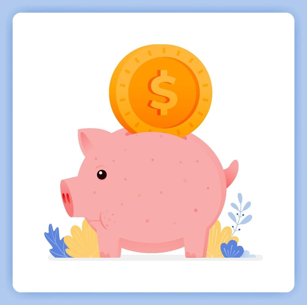Cute piggy bank with dollar bill input, how to save for kids. Can be used for landing pages, websites, posters, mobile apps vector