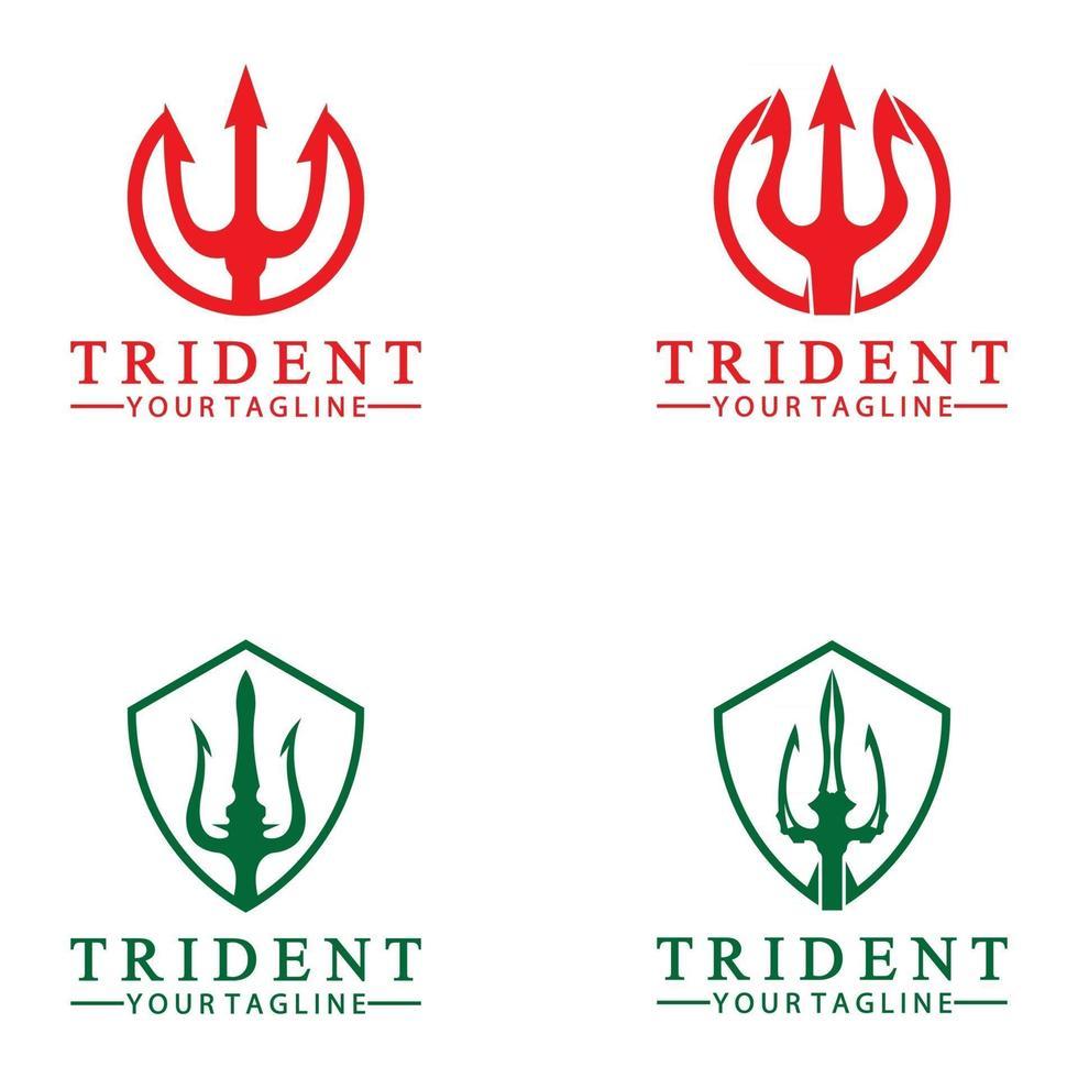 Vintage Trident Spear of Poseidon Neptune God Triton King logo design vector