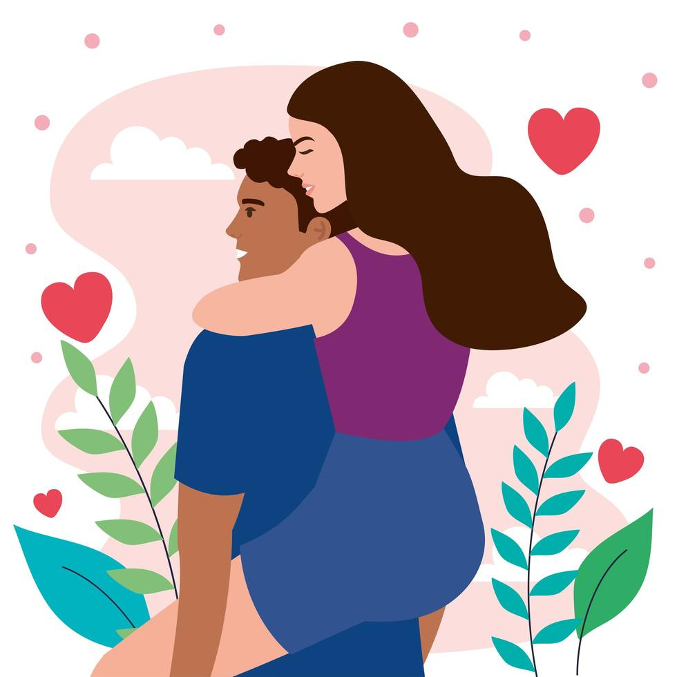 young interracial lovers couple lifting characters with hearts vector