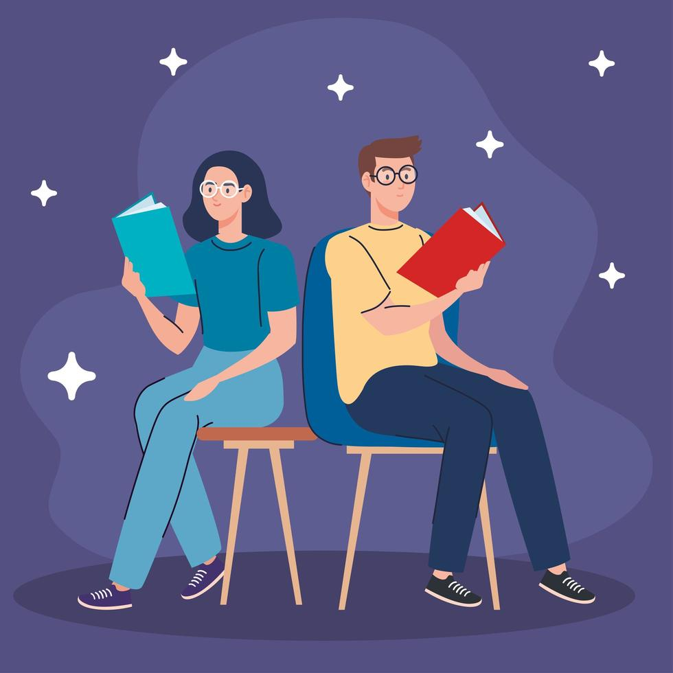 couple reading text books seated in chairs characters vector