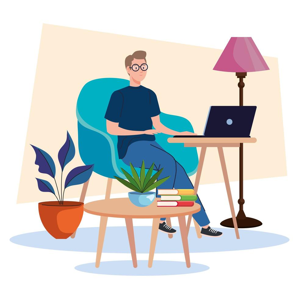 young male freelancer worker seated in sofa using laptop vector