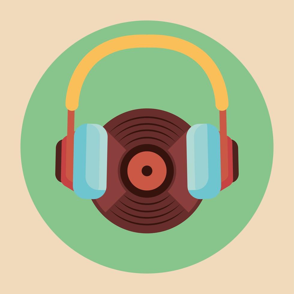 old retro vinyl player with earphones vector
