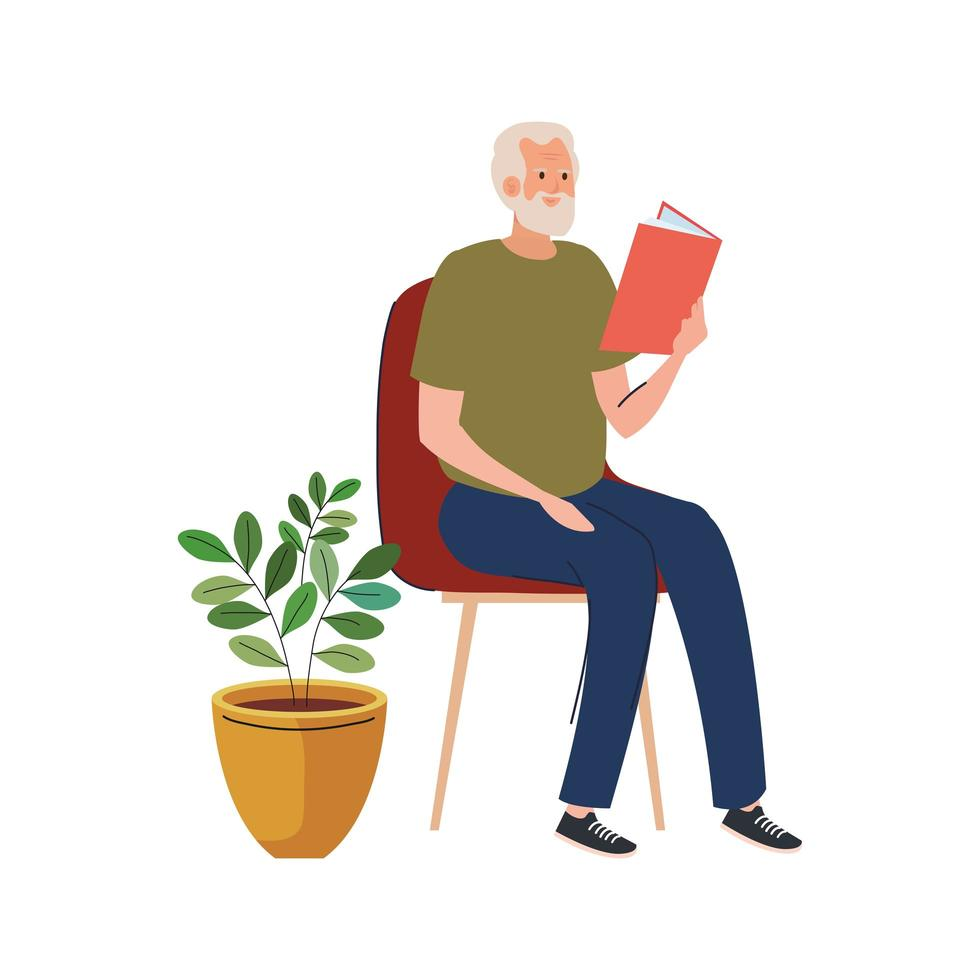 elderly old man reading book seated in chair character vector