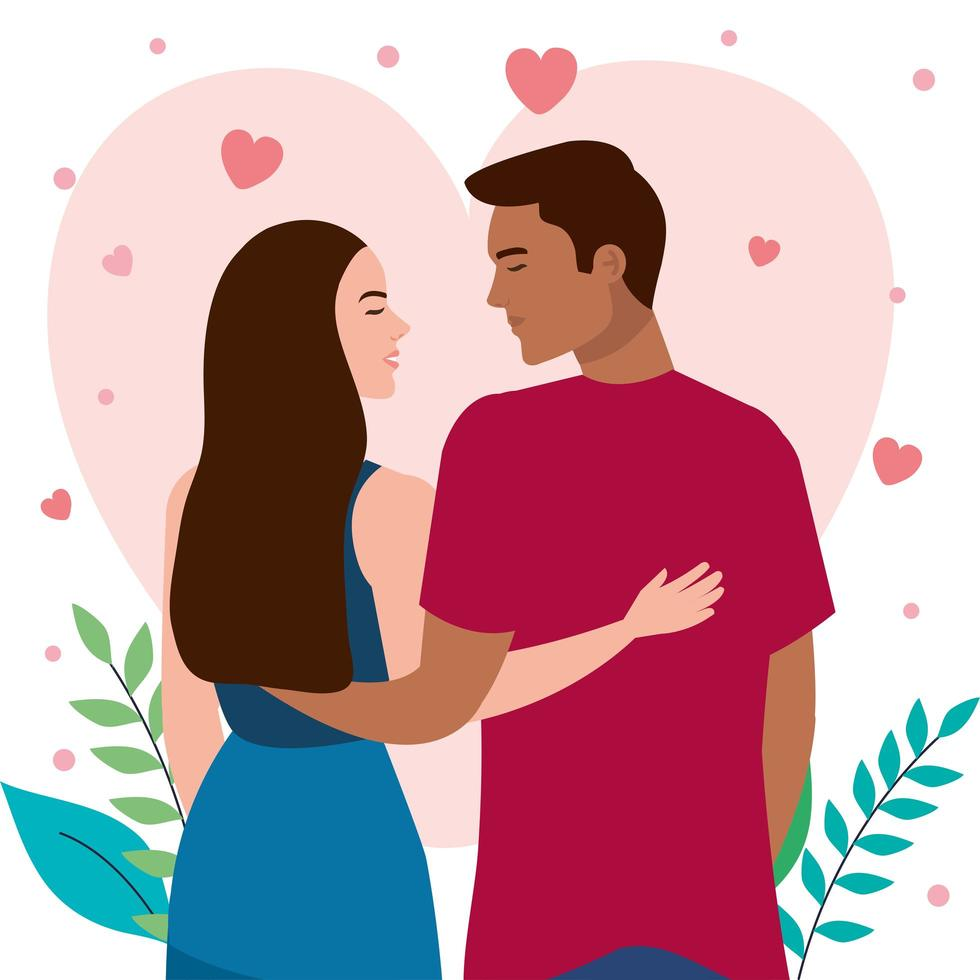 young interracial lovers couple romantic characters vector
