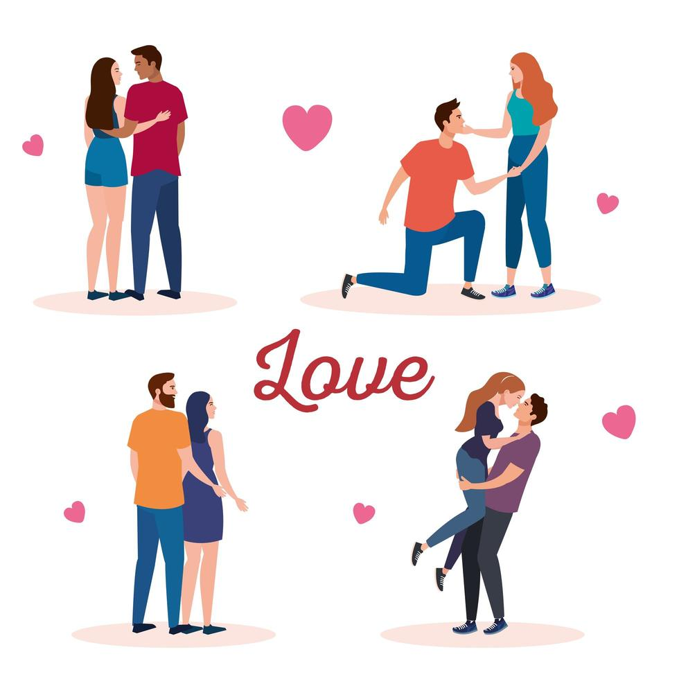 bundle of four couples lovers characters with hearts and lettering vector