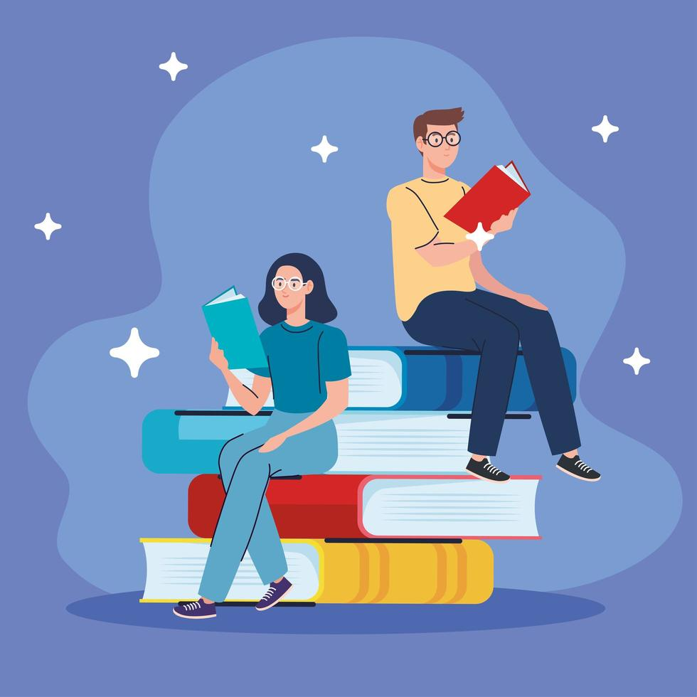 couple reading text books seated in books characters vector