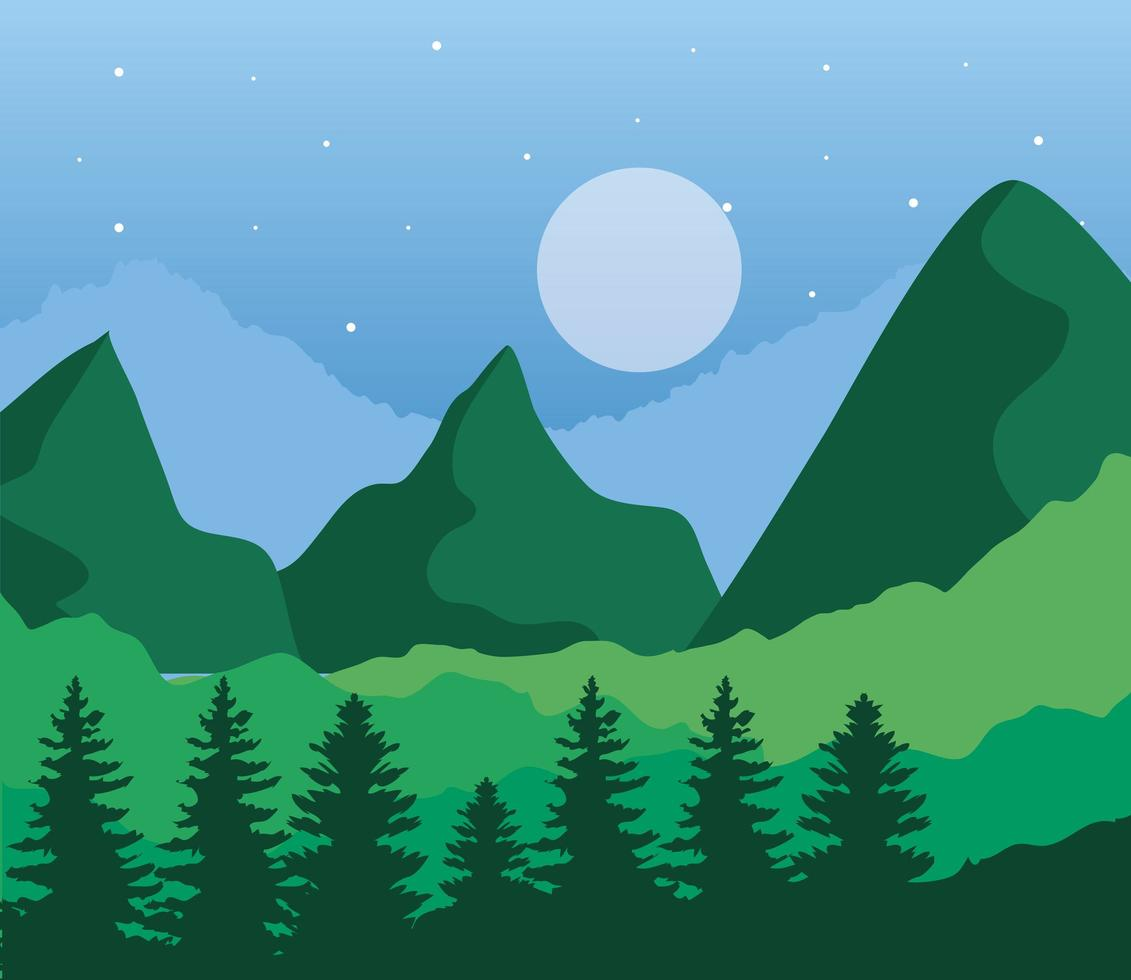 landscape of mountains and moon on green background vector design