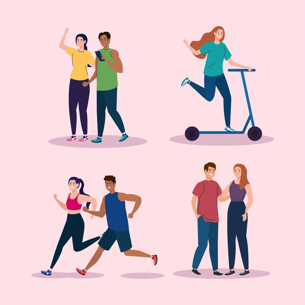 people doing activities icon collection vector design