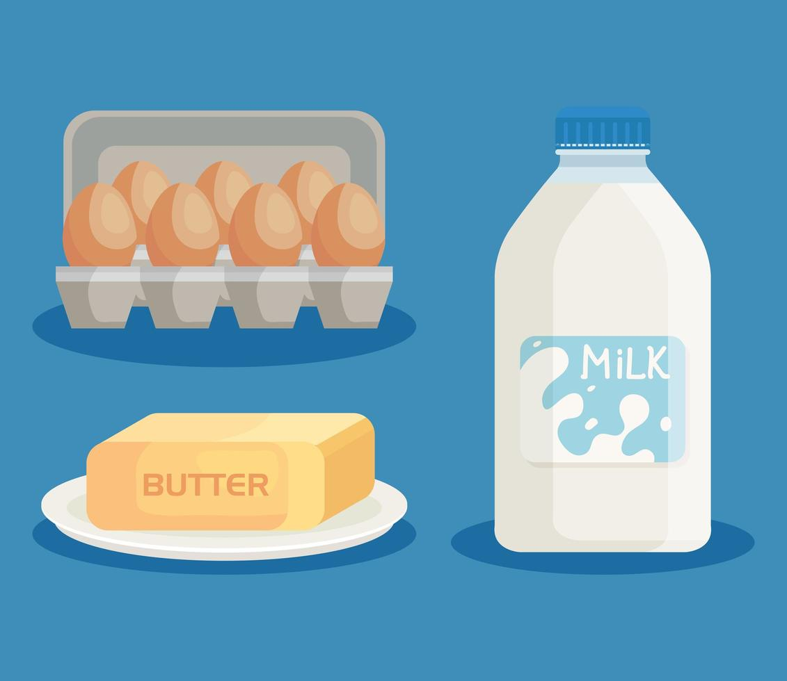 milk products and eggs set icons vector
