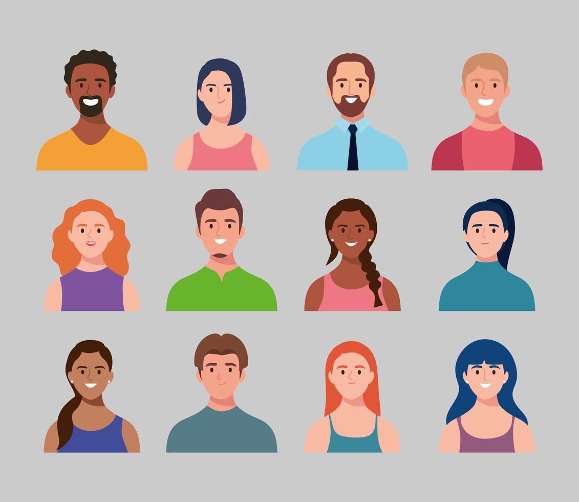 bundle of twelve persons avatars characters vector