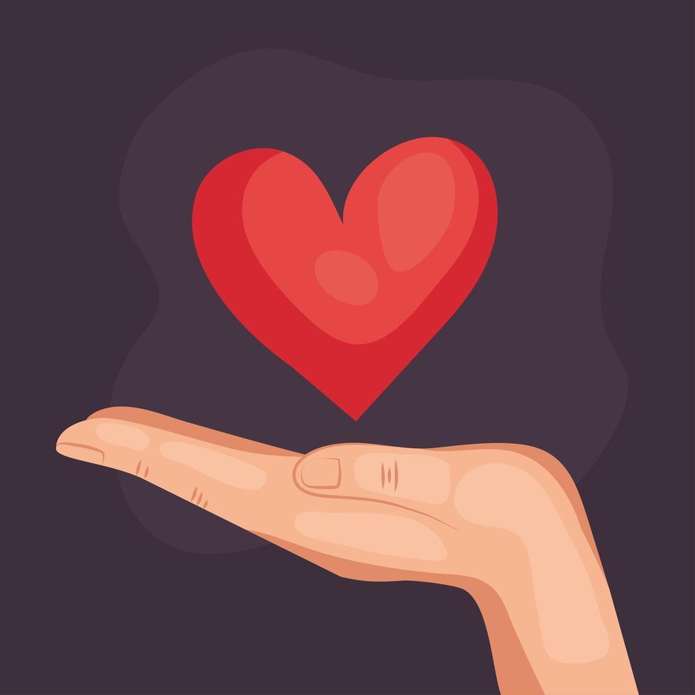 hand human holding heart love icon vector