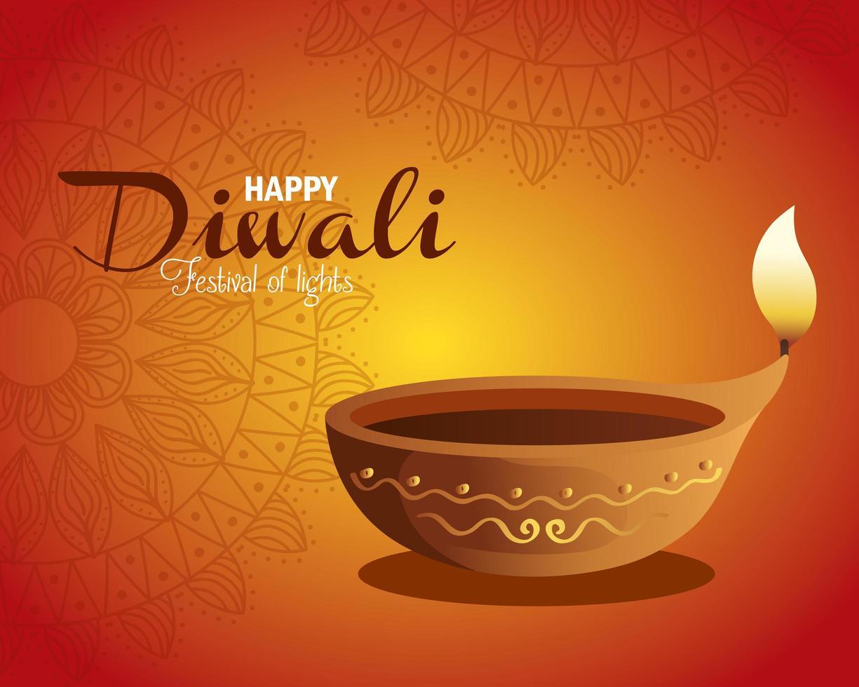 Happy diwali diya candle with mandala on orange background vector design