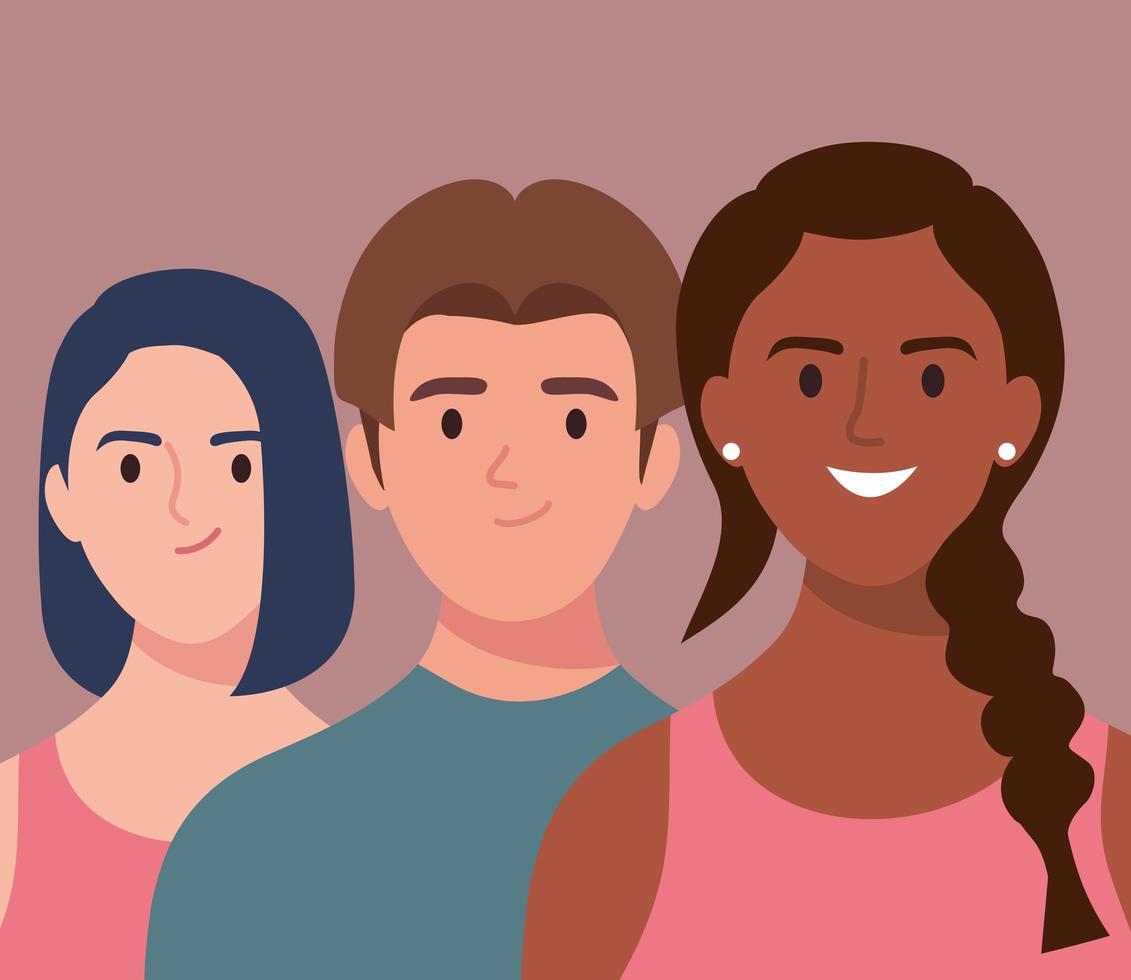 three persons happy avatars characters vector