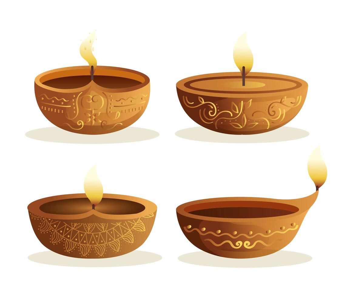 Happy diwali diya candles set isolated vector design