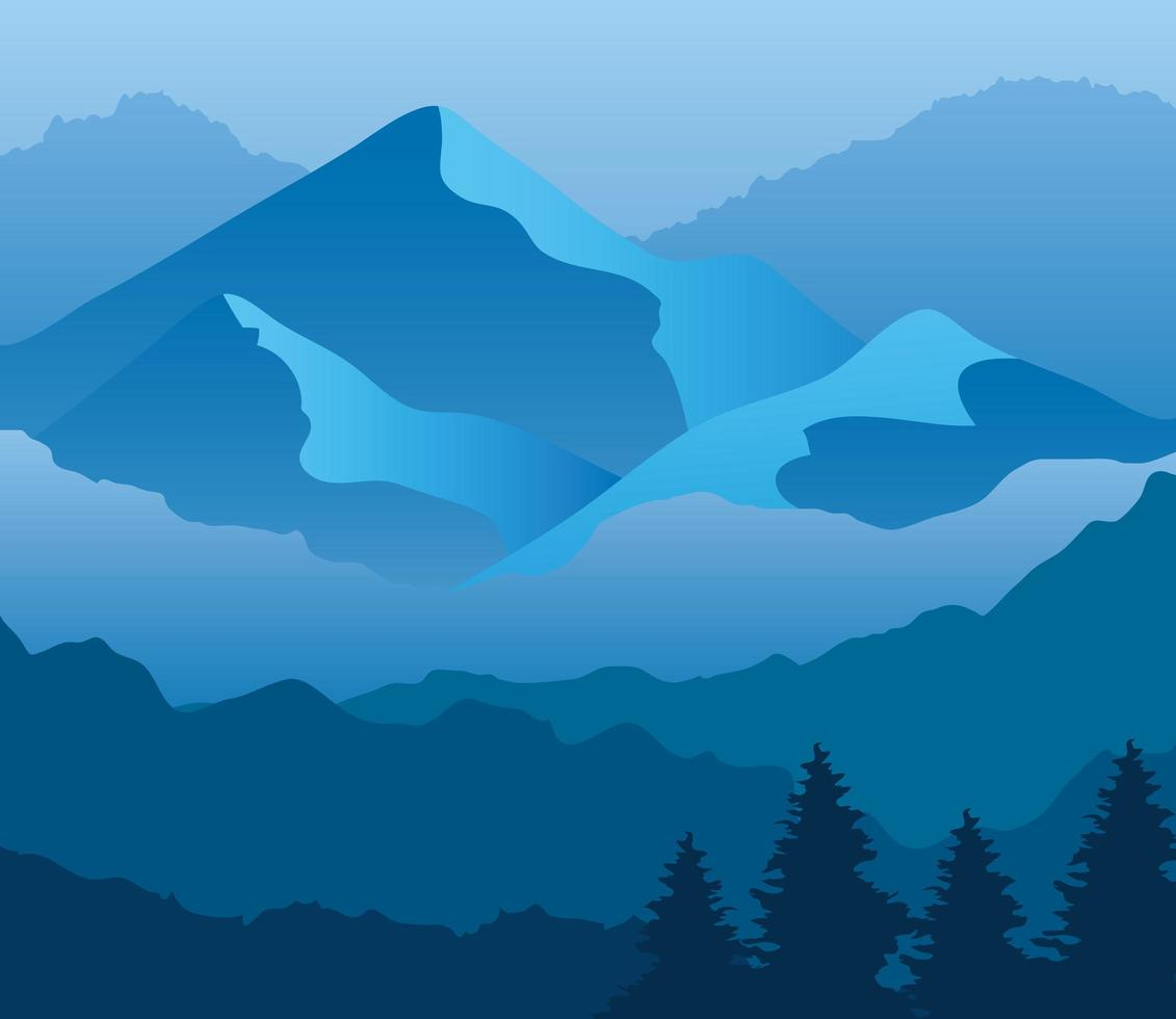 landscape of mountains and pine trees on blue background vector design