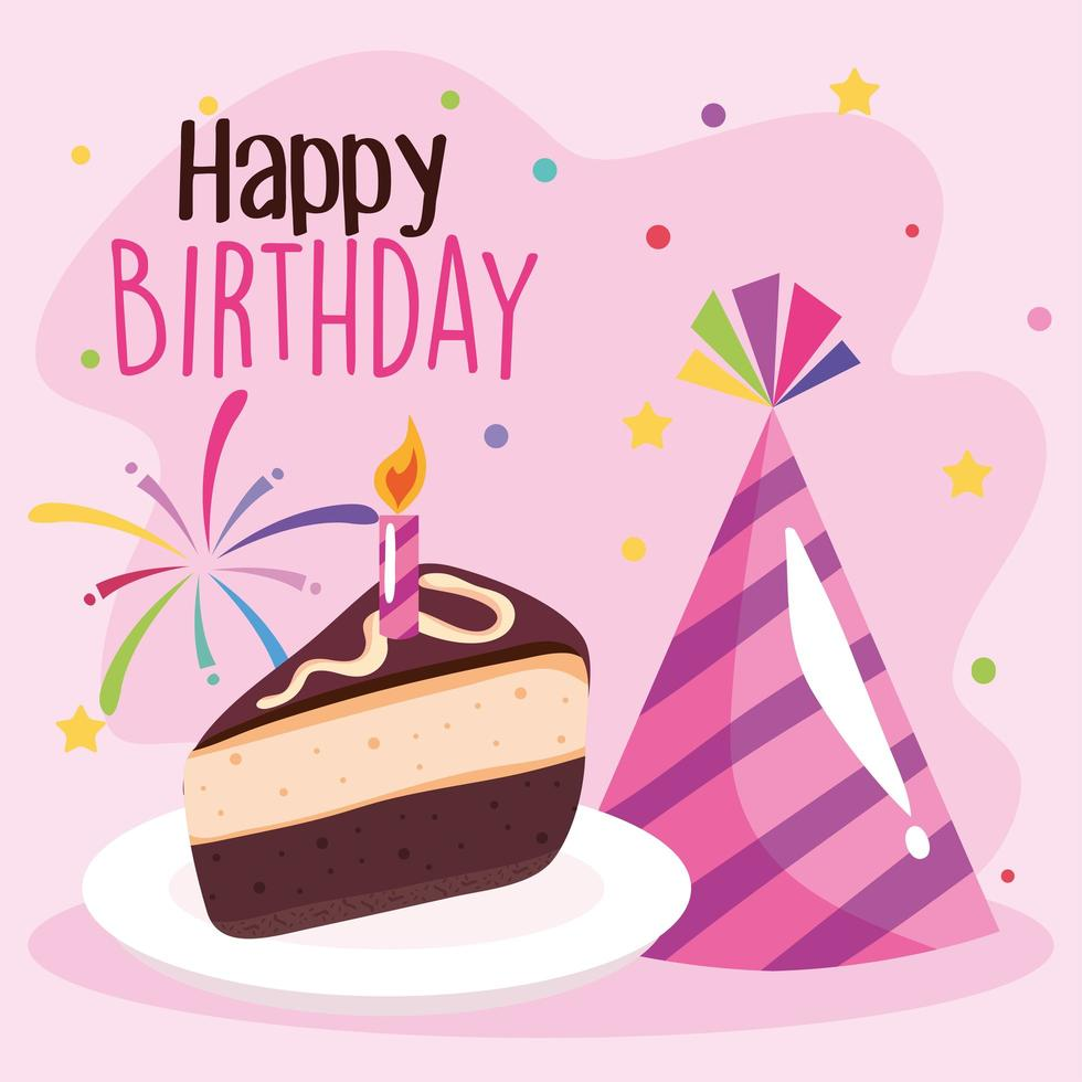sweet cake portion birthday with hat cone and lettering vector