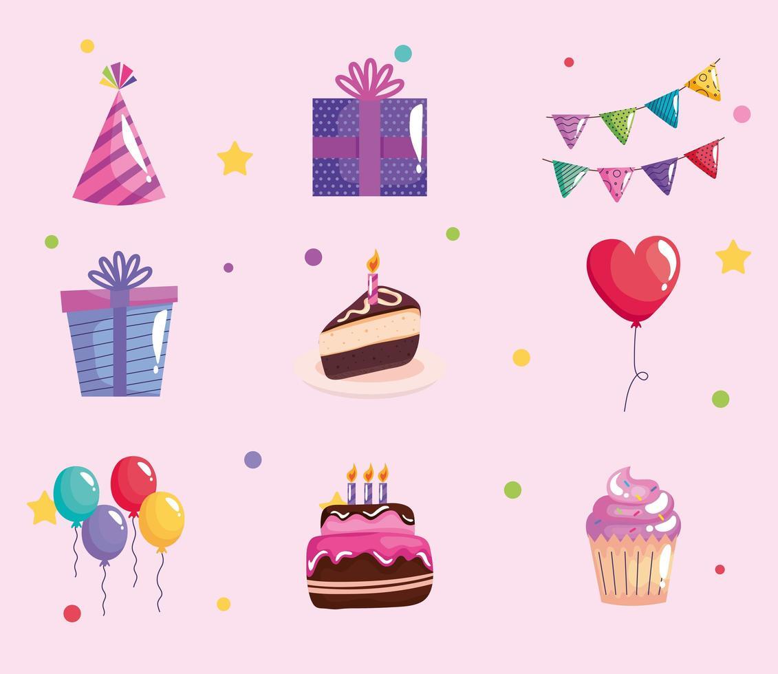 bundle of six party birthday celebration set icons vector