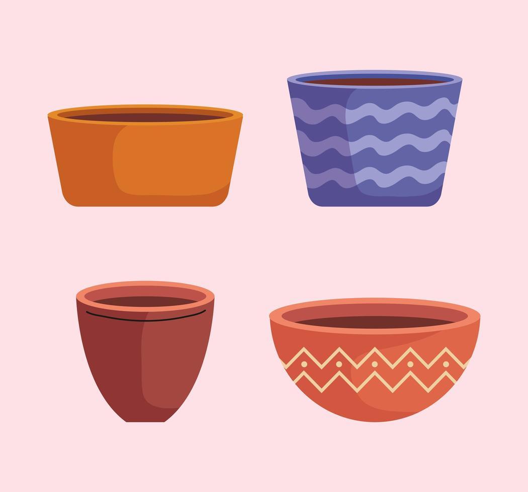 bundle of empty ceramics pots of garden vector