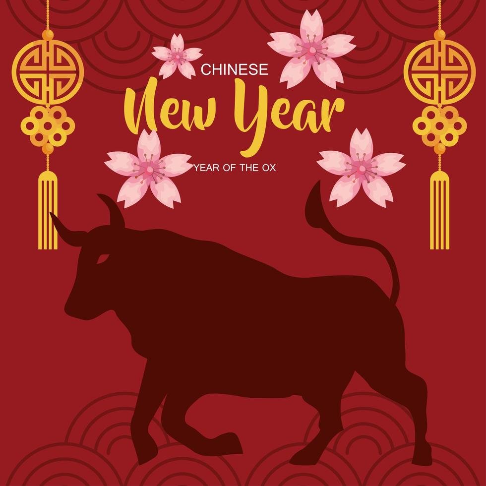 happy new year 2021 lettering card with ox silhouette vector