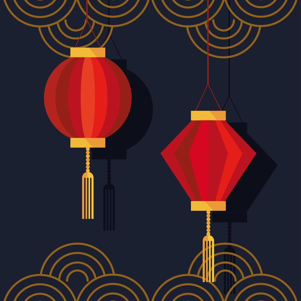 chinese lamps hanging and golden laces decoration icons vector