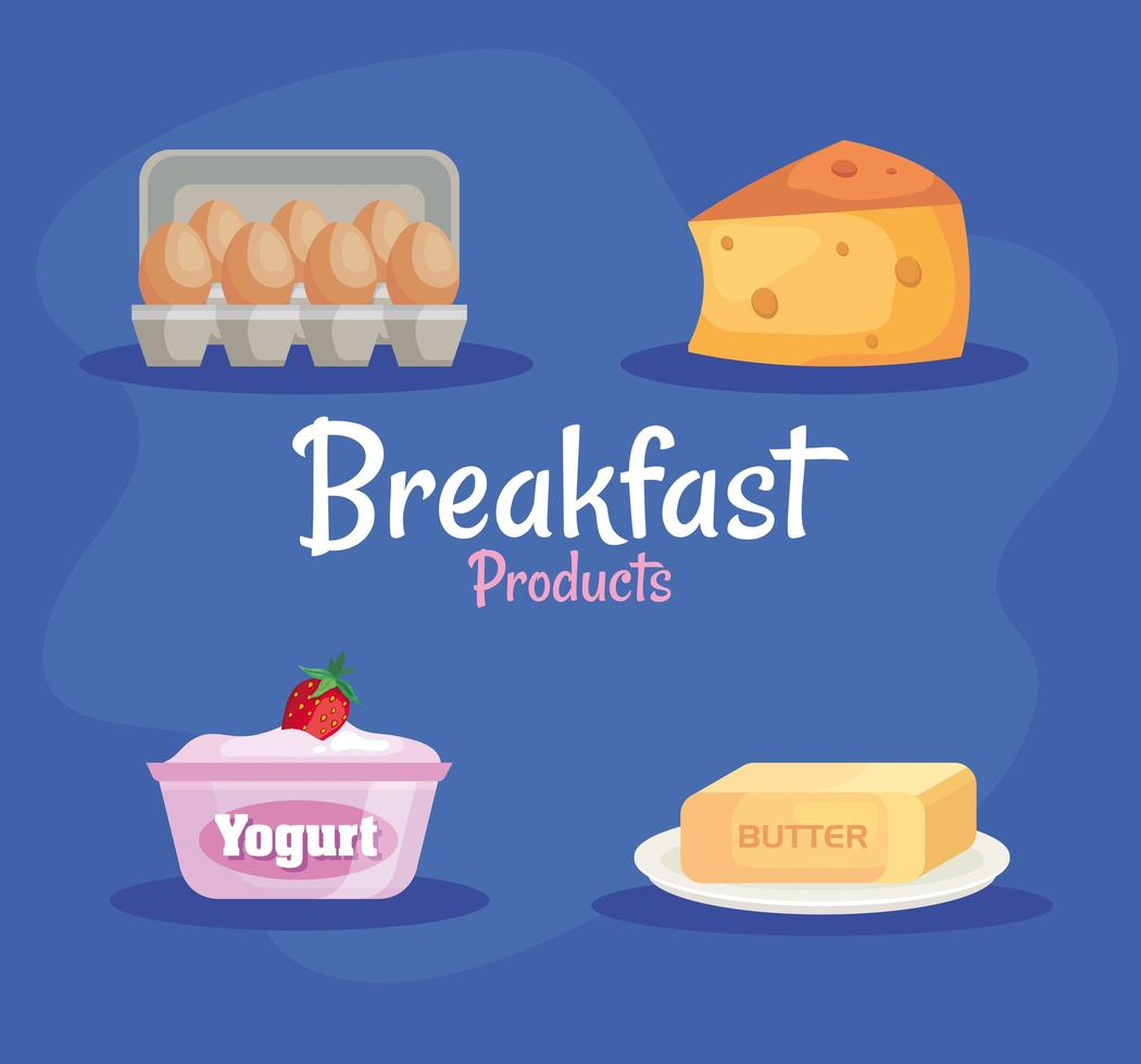 bundle of four delicious breakfast set products icons vector