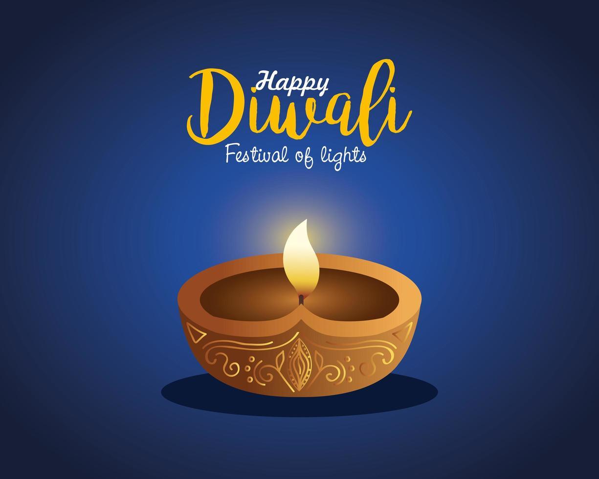 Happy diwali diya candle on blue background vector design