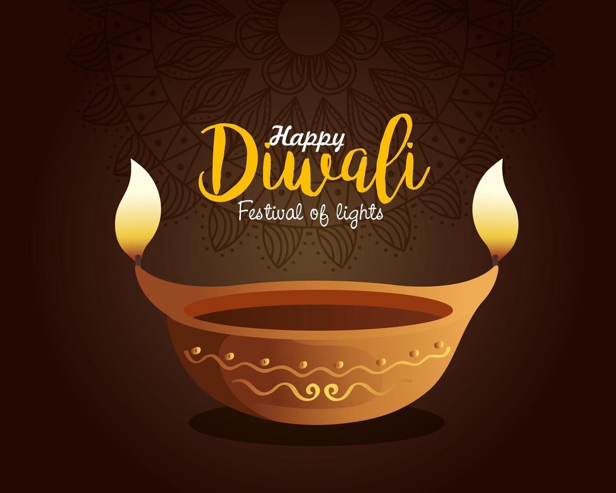Happy diwali diya candle with mandala on brown background vector design