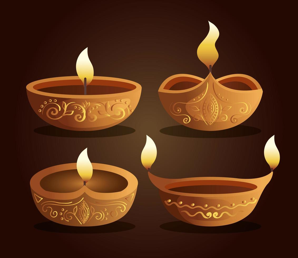 Happy diwali diya candles set on brown background vector design