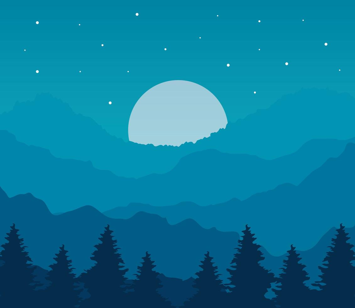 landscape of pine trees and moon on blue background vector design