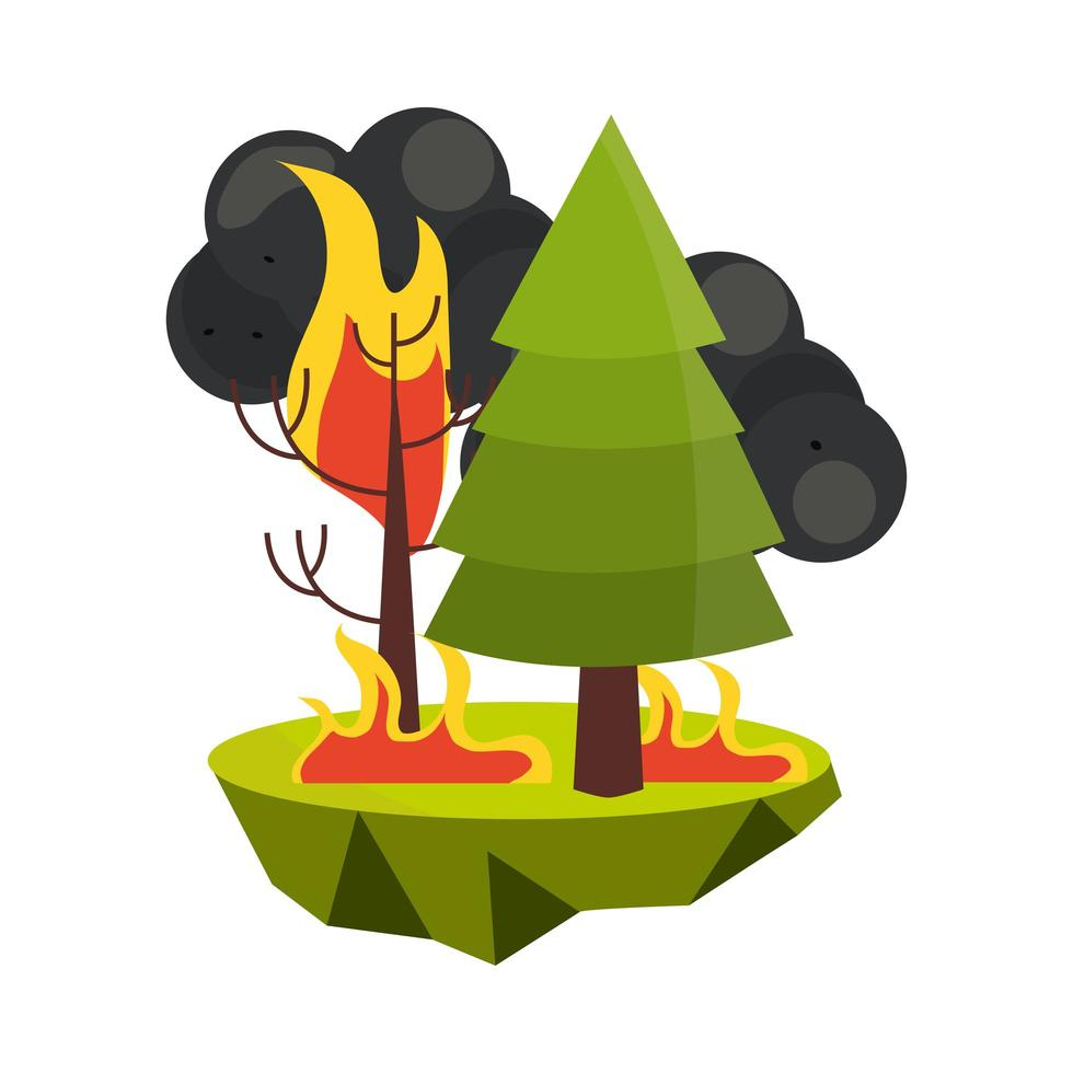 burning wildfire trees vector