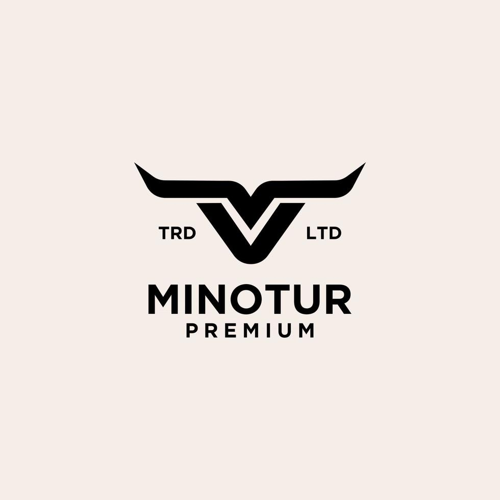 minotaur cow vintage logo icon illustration Premium vector