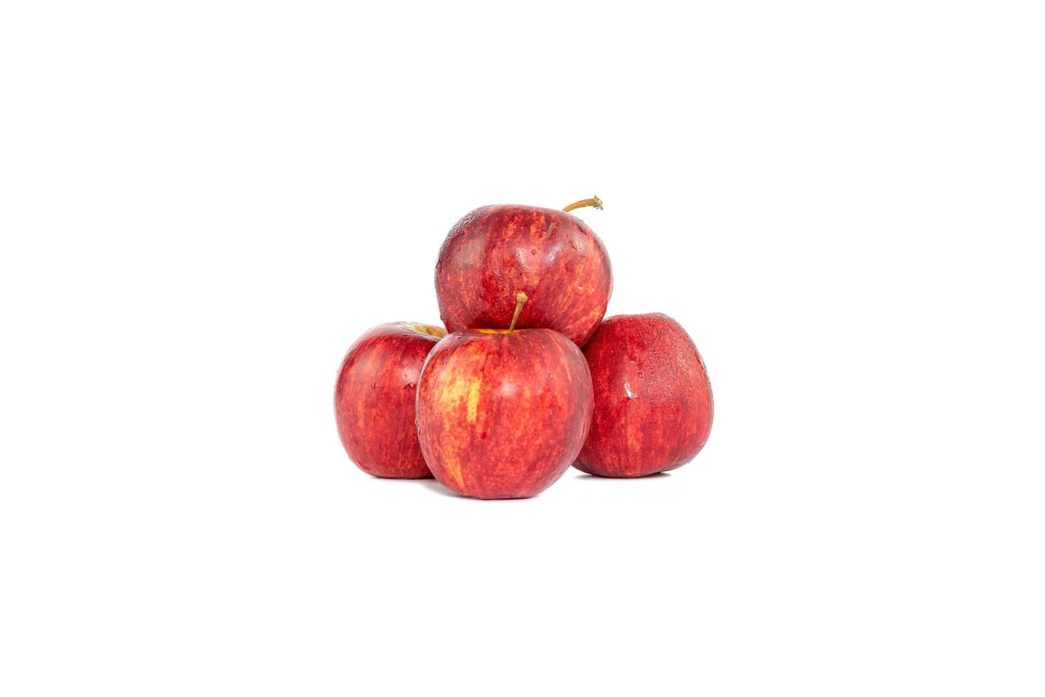 Group of red apples isolated on white background photo